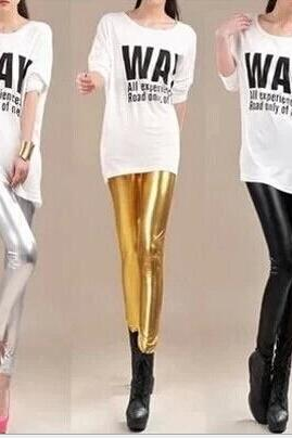 Metal texture of gold and silver and bright skin nine Leggings