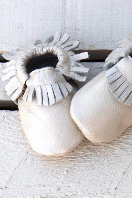 Genuine Leather Baby Moccasins Metallic Cream 6 To 12 Month