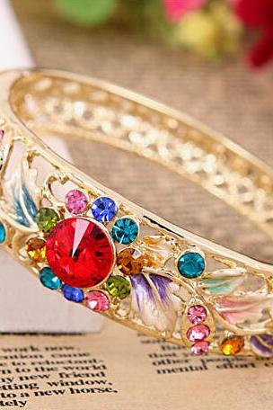 Cloisonne folk style bracelet with 18K gold plating diamond jewelry