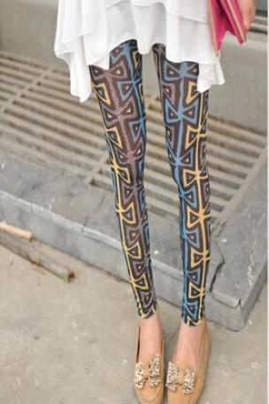 High grade thin gauze graffiti bow nine Leggings