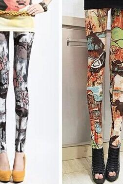 The new silk milk graffiti halo show thin elastic waist feet Leggings lady thin tide