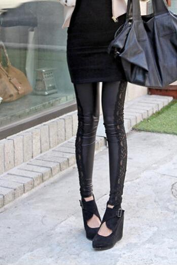 Autumn and winter with velvet thickened lace stitching side lace nine pants warm Leather Leggings