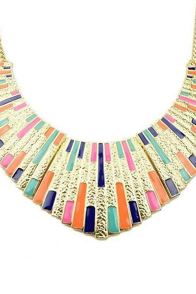 Multicolour Chunky Gold Plated Statement Necklace