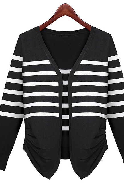Europe and the United States women's fall 2015 fashion cardigan black and white stripe knit sweater jacket for women