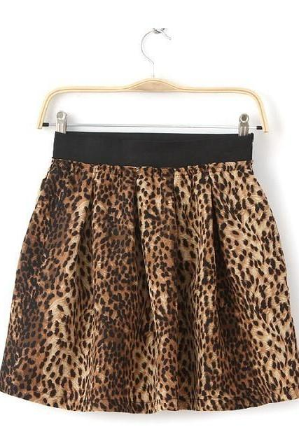 Leopard Print Elasticated Fluffy Skirt