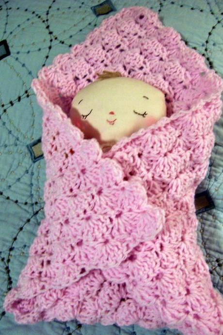 Butterbean Baby Girl Doll with Crochet Pink Blanket