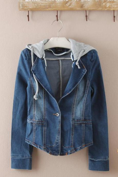 Sweet Slim Hooded Denim Jacket