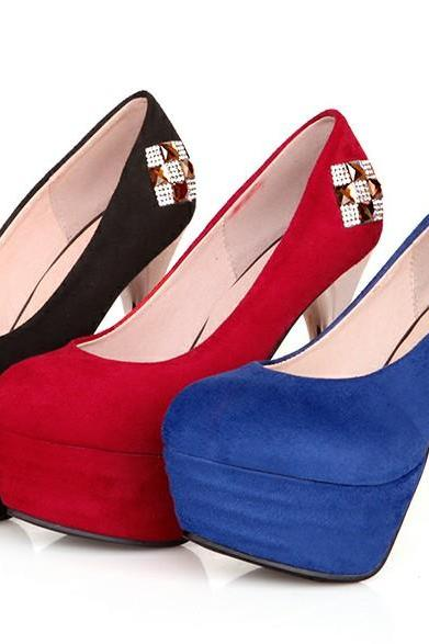 Classy Diamond Design High Heel Shoes In Red Blue And Black