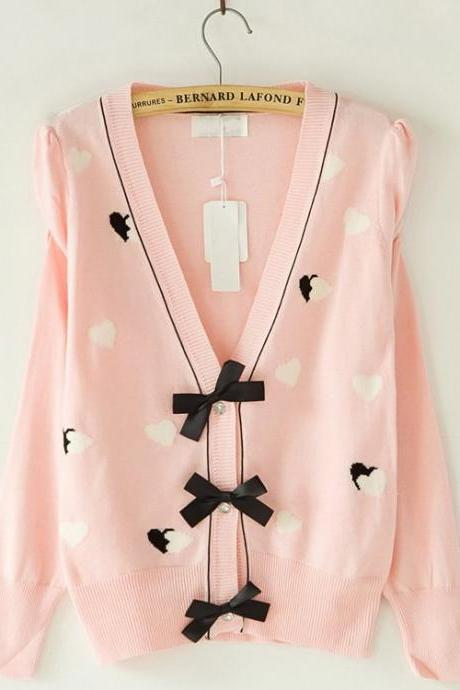 Women Sweaters Clothes New Fall Pink Bow Cardigan Sweater