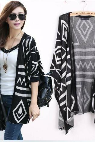 *free Ship* Oversized Aztec Geometry Print Knitted Cardigan - Black - 16270