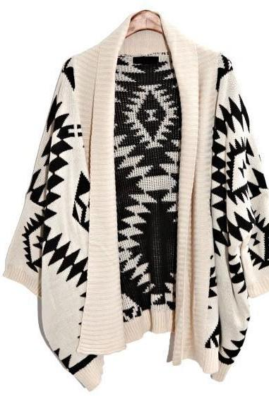 *free Ship* Oversized Aztec Geometry Print Knitted Cardigan - White -12683