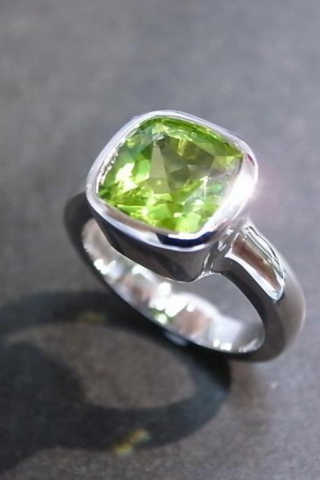 Cushion Peridot Engagement Ring in 14K White Gold
