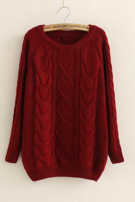 Casual Cabled Pullover Sweaters Fleece In Red