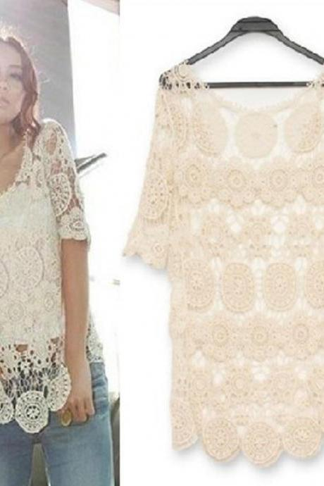 Lace Crochet Top In Beige