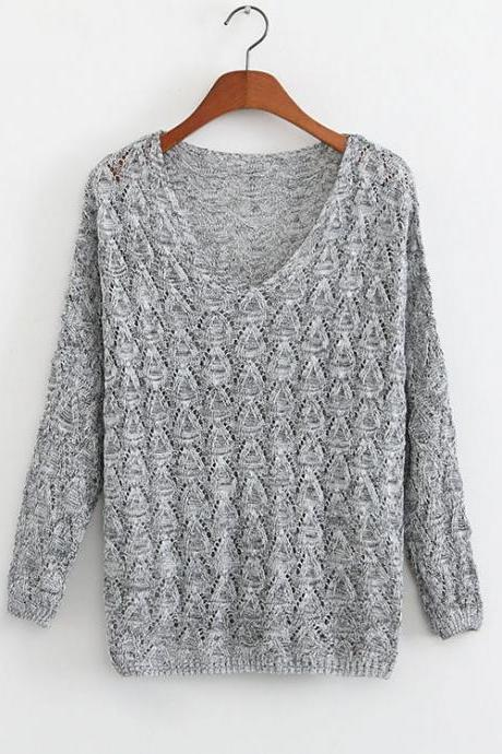 Loose Crochet V-neck Sweater