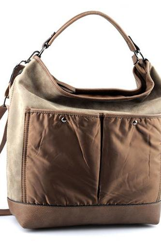 Brown Leather Handbag. Beige Leather Tote. Brown Hobo Handbag. Leather Messenger Handbag. Fall-Winter 2014/2015.
