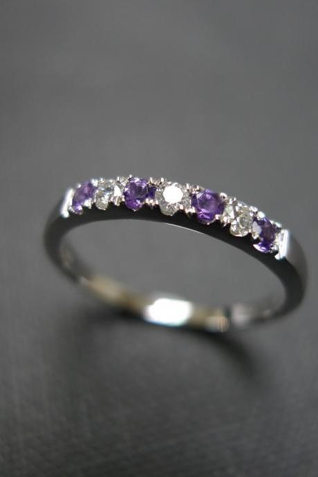 Diamond Wedding Ring with Amethyst in 14K White Gold