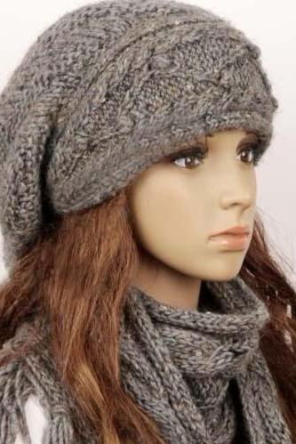 Wool Slouchy Woman Handmade Knitting Hat And Scarf Set - Light Grey