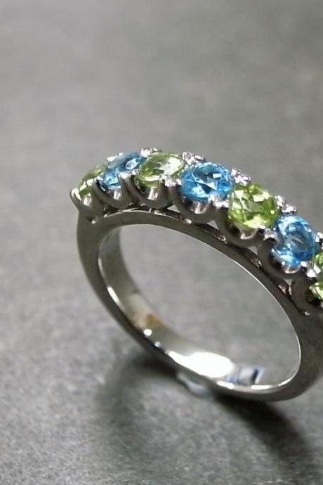Blue Topaz and Peridot Wedding Ring
