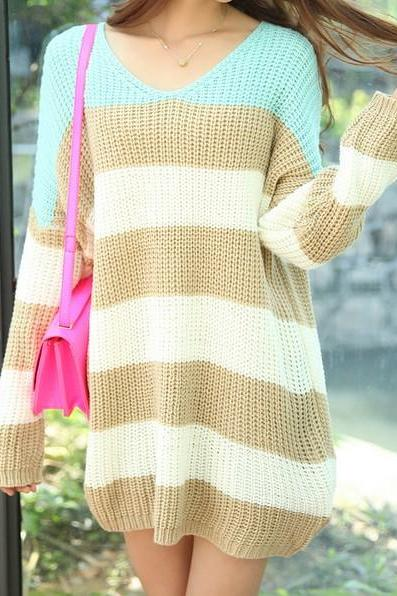 Color Blocks Striped Loose Sweater