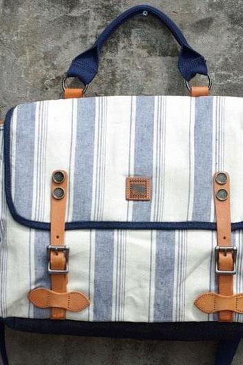 Navy Striped Print Canvas Messenger Bag for Men and Women