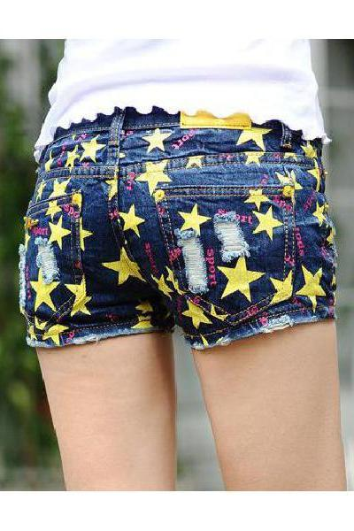 Summer Fashion Star Burst Models Female Denim Shorts Shorts