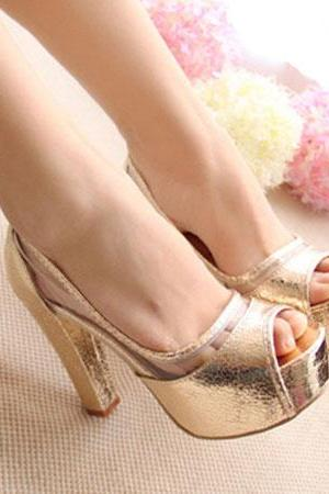 Tone Peep Toe Sheer High Block Heel Platform Sandal