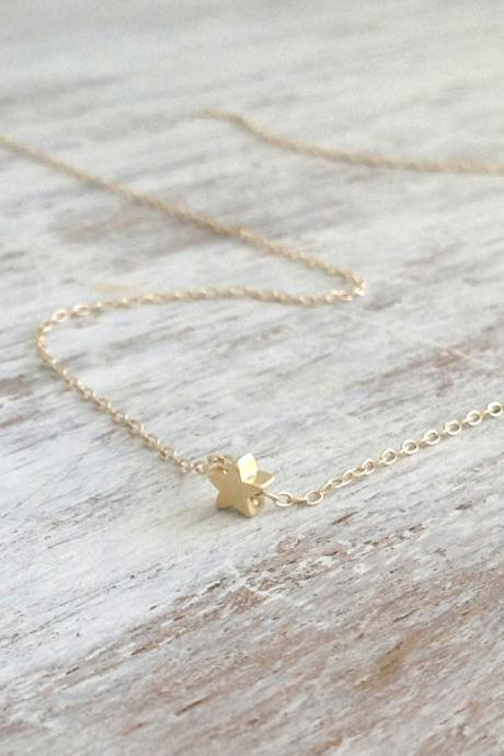 gold necklace, gold star necklace, star bead, simple necklace, tiny gold necklace,1 petite jewelry 011