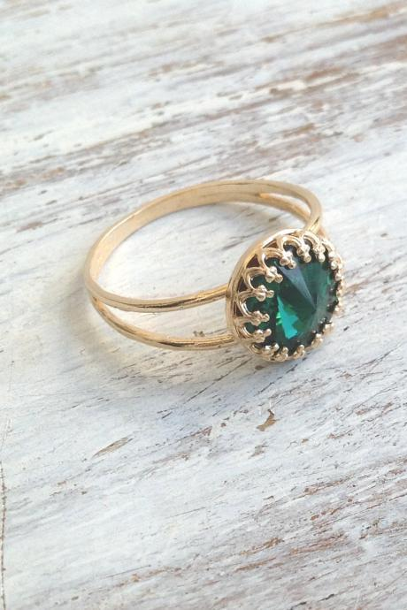 Stacking ring, Gold filled ring, emerald ring, green jewelry, stackable ring, 1gold and green B3