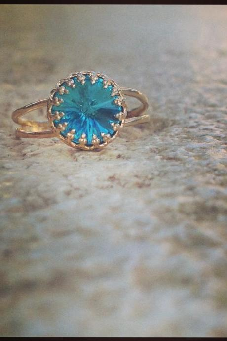 Stacking ring, Gold ring, light blue, gold stack ring, gold filled ring, blue Swarovski opal gemstone, stackable ring,1 gold and blue B5