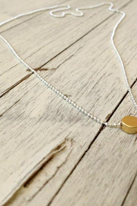 silver and gold necklace, gold dot necklace, silver ,bead circle necklace, tiny necklace, petite jewelry, tiny dot necklace A534