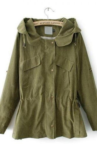 Army Green Hooded Drawstring Coat