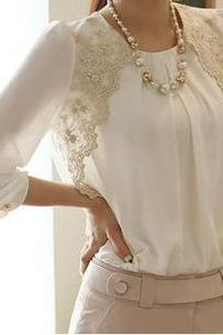 Lace Chiffon Blouse Top