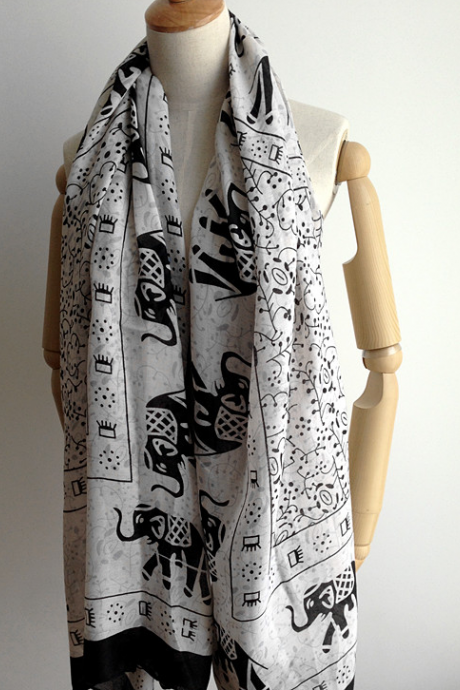 The elephant double-sided super cotton sunscreen shawls scarf