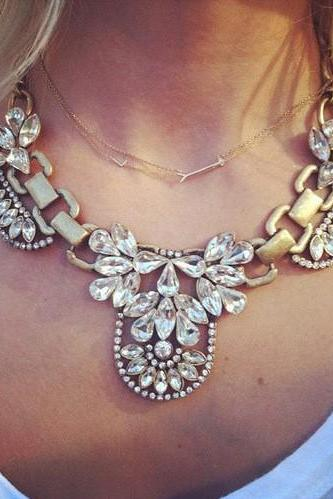 Faux Crystal Jewel Statement Necklace