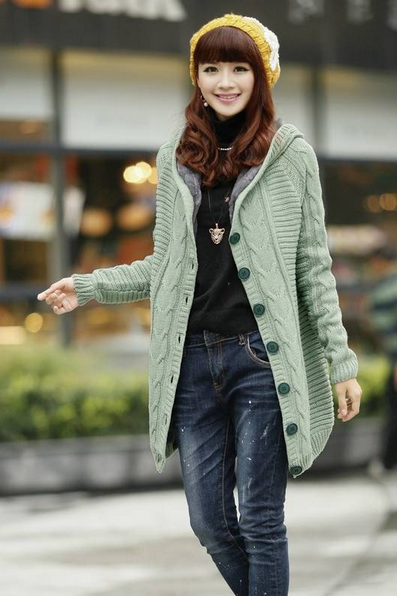 In The Winter Long Hooded Cardigan With Thick Warm Sweater Coat