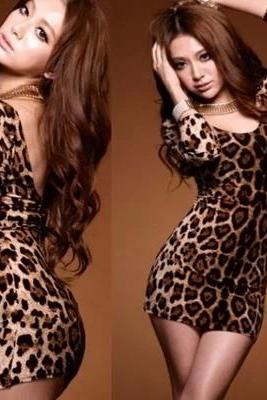 Women's Sexy Crew Neck Leopard Print Backless Slim T-Shirt Long Sleeve TOPS Mini Dress