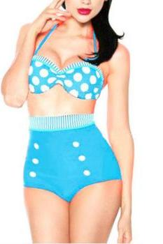 Swimsuit Swimwear Vintage Polka Dot Push Up High Waist Bikini