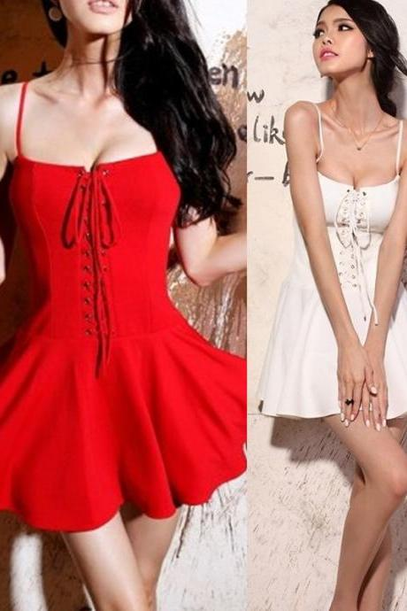 Corsetry - Inspired Cotton Spaghetti Strap Cotton Dress with Lace- Up Front Details