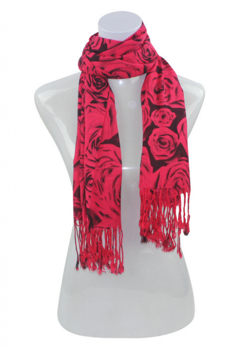 Cashmere twill cotton scarf big rose