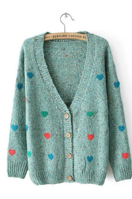 Cardigan Sweater With Embroidered Hearts In Green