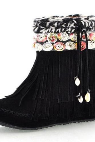 Cheap Winter Fashion Round Toe Slip On Tassel Decorated Flat Mid Heel Black Suede Ankle Snow Boots