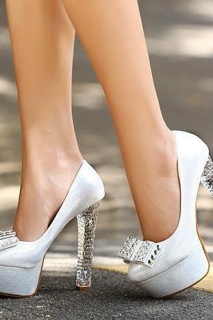 Shiny Diamond Bow Heels