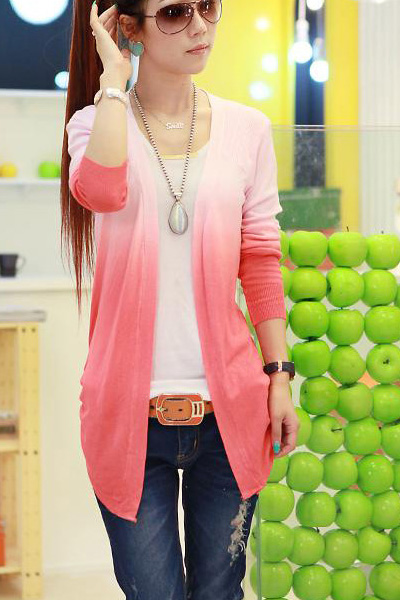 Fashion Long Sleeve s Grandualy Changing Colors Knitting Cardigan - Red