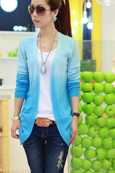 Fashion Long Sleeve s Grandualy Changing Colors Knitting Cardigan - Blue