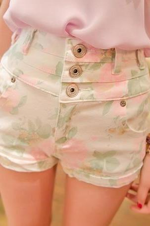 Vintage Women Shorts Vintage Inspired High Waist Floral Shorts