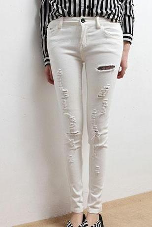 White Cutout Ripped Shreddered White Skinny Pants Trousers