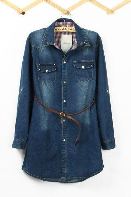 Female Long -Sleeved Denim Shirt Slim Models Thick Solid Denim Shirt Lapel