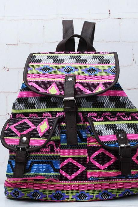 Folk Style Geometry Printed Backpack