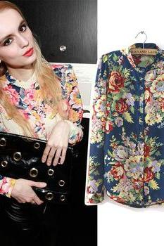 Vintage Style Long Sleeve Blouse Top With Floral Print